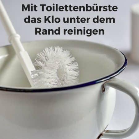 Mit Toilettenbürste das Klo unter dem Rand reinigen
