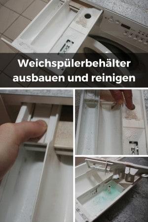 Spülmittel Schublade der Waschmachine ausbauen und Weichspülerbehälter reinigen